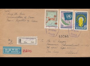 Korea 1960: Air Mail registered Busan to Den Haag, Holland