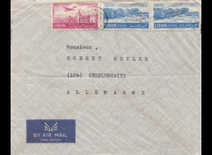 Libanon: Beyrouth 1952 letter, par Avion to Oberlungwitz