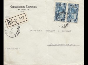 Libanon: 1954: Registered Beyrouth to Rückmarsdorf/Leipzig