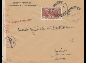 Libanon: 1943: Credit Foncier-D'Algerie et de Tunisie, Beyrouth to Genf, censor