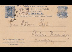 Liberia: 1898 post card Monrovia to Aalen/Germany