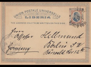 Liberia: 1897: post card Monrovia to Berlin
