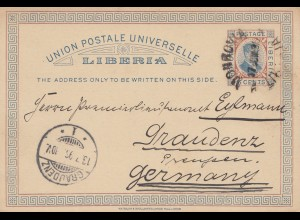 Liberia: 1896: post card Monrovia to Graudenz