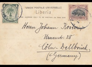 Liberia: 1921: post card Monrovia to Köln