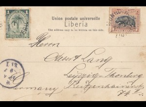 Liberia: 1904: post card Monrovia to Leipzig