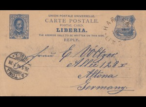 Liberia: 1894_ post card Harper to Altona