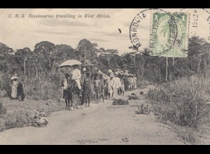 Liberia: 1912: Monrovia post card Missionaires travelling, to Sonneberg