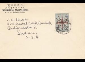 Macau 1962: Universal Stamp Serrvice to Indiana/USA