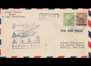 Macau 1937: air Mail First Flight to San Francisco - to Buffalo/New York
