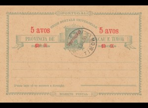 Macau post card 5 avos, 1895 Timor - unused