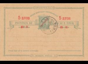 Macau post card 5 avos, 1895 Timor - unused