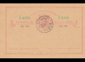 Macau post card 3 avos, 1895 Timor - unused