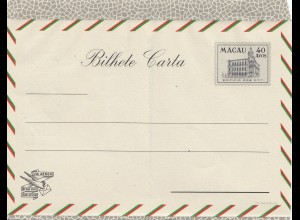 Macau Bilhete Carta, unused