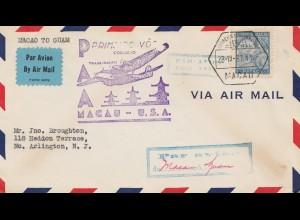 Macau 1937: air mail Macau - Guam USA, First flight, to Arlington