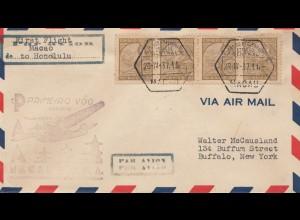 Macau 1937: air mail Macau - Honolulu, First flight, to Buffalo/USA