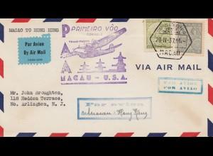 Macau 1937: air mail Macau- Hong Kong USA, to Arlington