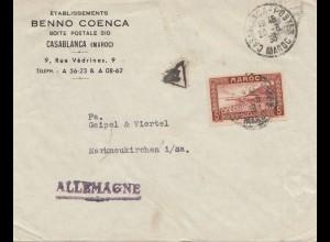 Maroc 1938: post card Casablanca to Marktneukirchen