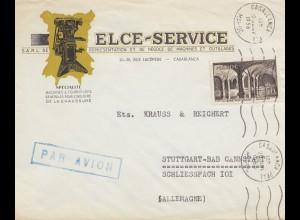 Maroc 1956: air mail Casablanca to Stuttgart