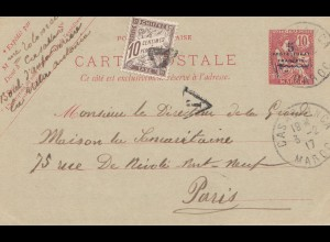 Maroc 1917: post card Casablanca to Paris