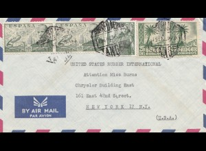Maroc 1955: Tanger by air mail to New York