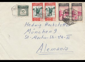 Maroc 1955: letter to München, Tax