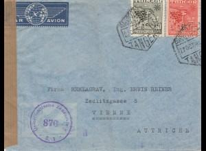 Maroc 1950: air mail Tanger to Wien, Zensur