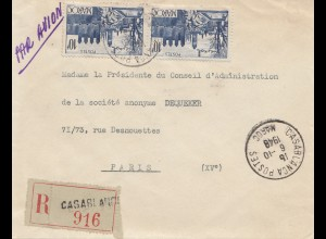 Maroc 1948: air mail Casablanca Registered to Paris