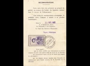Maroc 1965: Carte D'Abonne Tetwan