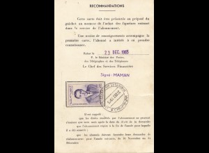 Maroc 1965: Carte D'Abonne Tetuan