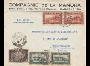 Maroc 1939: Casablanca to Gennevilliers, air mail