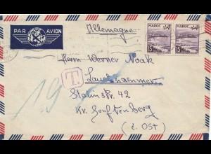 Maroc 1953: air mail Fes to Lauchhammer, Tax