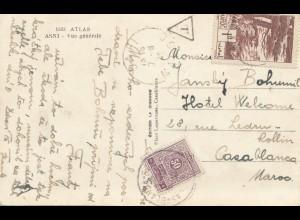 Maroc 1942: post card Asni to Casablanca, TAX