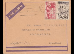 Maroc 1942: air mail to Nürnberg, pencil factory, censor
