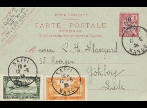Maroc 1928: post card Saffi to Göteborg/Sweden