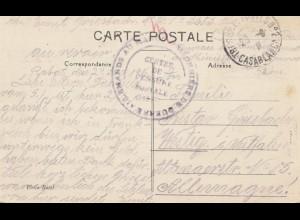 Maroc 1916: post card El Adjeb/Casablanca to Westig