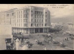 Maroc 1916: post card Casablanca, Place de France, to St. Denis