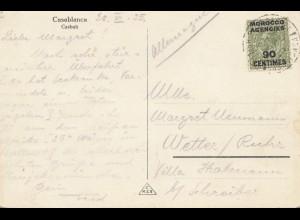 Maroc 1935: post card Casablanca to Wetter