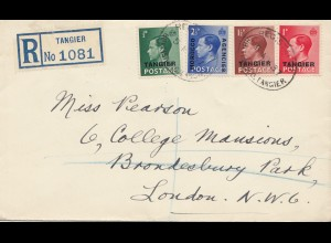 Maroc 1937: Registered Tangier to London