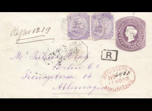 Mauritius: 1893: Registered to Berlin