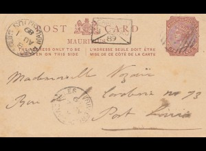 Mauritius: 1889: post card Port Louis