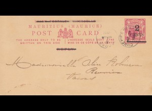 Mauritius: 1902: post card Curepipe to Reunion
