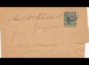 Mauritius: 1896: Wrapper to Zanzibar