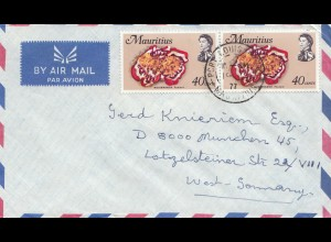 Mauritius: 1977: air mail to München