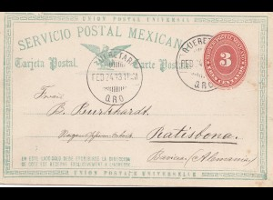 Mexico 1893: post card Querez to Ratisbona/Regensburg