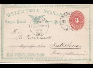 Mexico 1893: post card Querez to Ratisbona/Regensburg