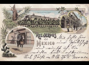 Mexico old colored post card to Vilshofen - address part extra paper?