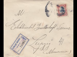 Mexico 1913 Registered letter to Leipzig