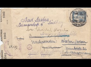 Mexico 1947: letter to Bad Sachsa, censorship