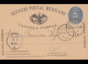 Mexico 1894: post card to Leipzig