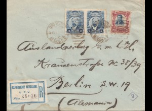 Mexico 1922: Registered letter to Berlin